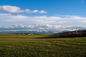 Bavarian Landscape: Landscape with green Fields and Meadows, typical bavarian Villages and the Mountains in the Background