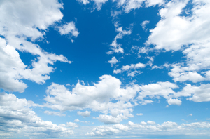 Blue Sky with white Clouds: Typical Bavarian Sky - deep blue with big white Cumulus Clouds