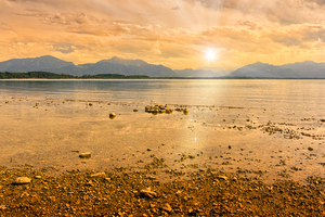 Chiemsee-Sunset: Sunset on Lake Chiemsee, Bavaria, Germany. Digital Composing.