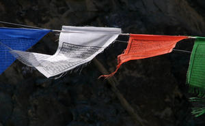 Prayer Flag: Buddhist prayer flags at the Diskit Monastery
