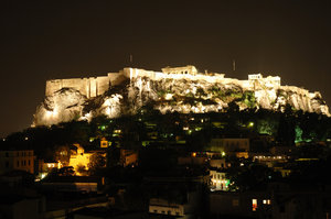 acropol by night: view on acropolis by night