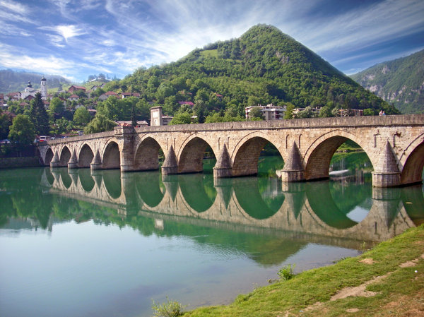 Bridge: Old bridge at river Drina in Visegrad, town in Bosnia