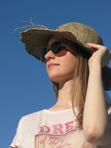 girl with straw hat: none