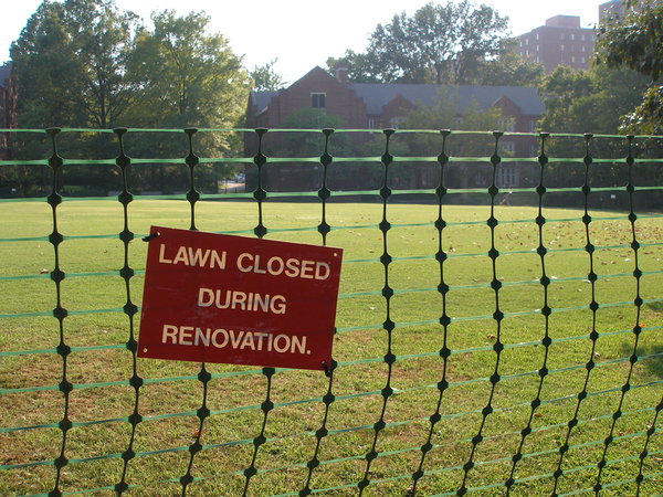 Stay off the Grass: Lawn Closed During Rennovation sign at the Vanderbilt campus, Nashville, summer 2007.