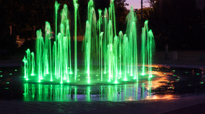 Colorful fountain: Cosmopolis Fountain in Torun, Poland