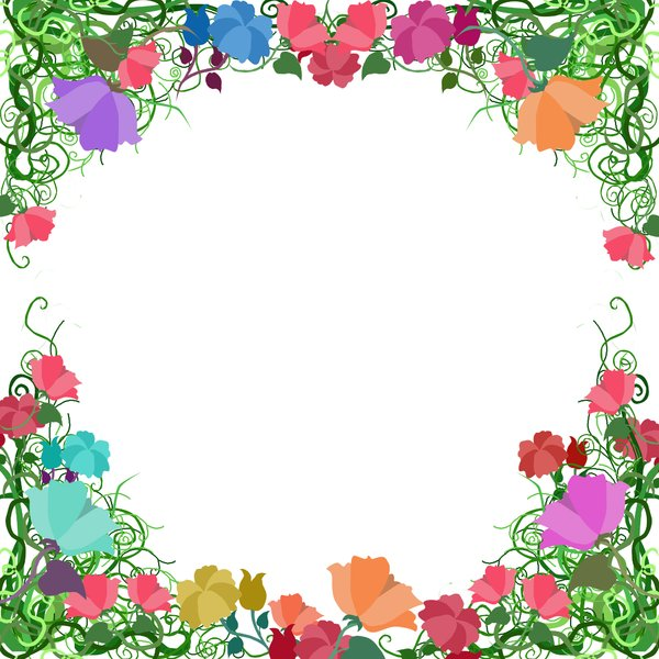 Vine Fame Border: visit my site ozaidesigns.com for more of my free illustrations!A border of twisting vines and flowers. **If you download this for online use, PLEASE send me a link :)