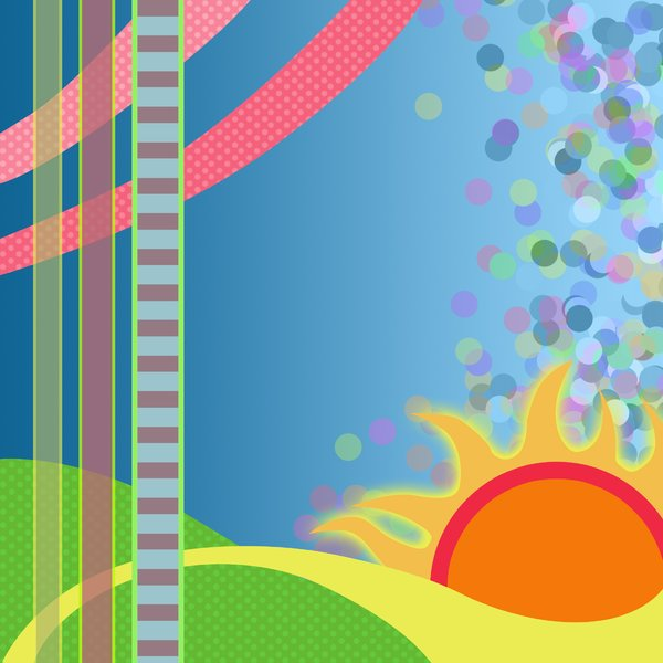 Sunny, abstract background: visit my site ozaidesigns.com for more of my free illustrations!Abstract background with sun and hills. **If you download this for online use, PLEASE send me a link :)