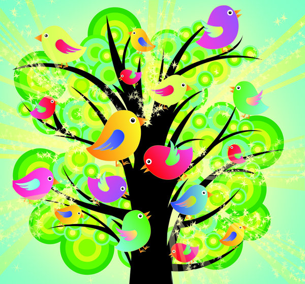 Birds in a tree: visit my site ozaidesigns.com for more of my free illustrations!Cute birds in a tree.Please comment/send me links!