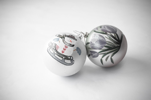 Christmas Baubles 2: Photo of christmas baubles with handpainted designs