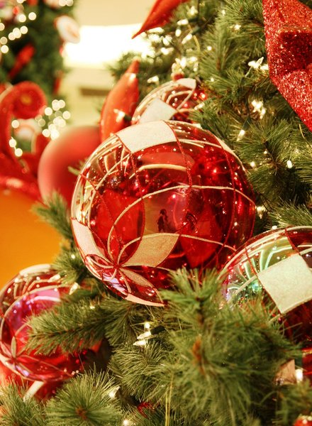 Red Baubles 2: Snapshots of red baubles decorating the Christmas tree