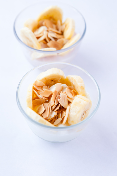Healthy Dessert 2: Photo of healthy dessert of yoghurt, bananas and almonds
