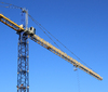 Construction Crane 1: A large crane building a new wing to Llandough hospital in Wales, UK