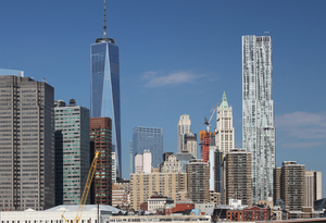 New York skyline: Skyline of New York from the waterway.