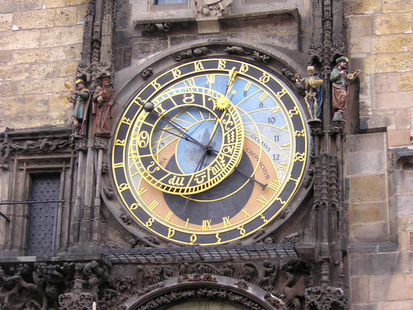 Astronomical clock: Town hall Tower astronomical clock which dates back to 1410,when each hour strikes it triggers a figure of death to come out on the left hand side, this is in the centre square in Prague