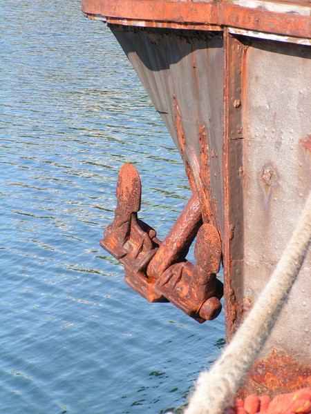 Weigh Anchor: old ship tied up. Wellington Harbour, New Zealand