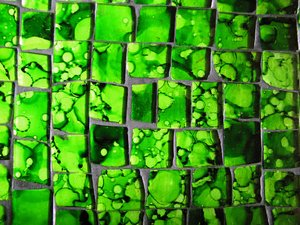 green glass mosaic 2: close-up on green glass stones