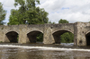 Wales bridge: The historical bridge over the River Usk at Crickhowell, Powys, Wales.