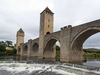 Ancient bridge: A mediaeval fortified bridge at Cahors, France. Two shot photomerge.