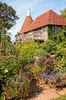 Oast house garden: Garden of a converted oast house in Sussex, England.