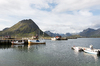 Harbour and mountains: A harbour in the Lofoten Islands, Norway.