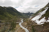 River valley: A valley carved out by a former glacier, now reduced to a snow melt river, in Norway.