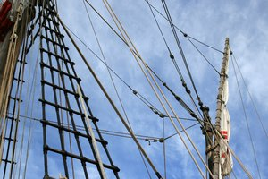 Ropes: Rigging on a replica mediaeval sailing ship in Madeira.