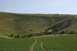 Chalk Hill Figure: The Long Man of Wilmington, a 16th century chalk hillside figure in East Sussex, England.
