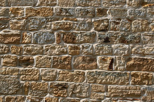 Sandstone wall: An old sandstone wall in East Sussex, England.