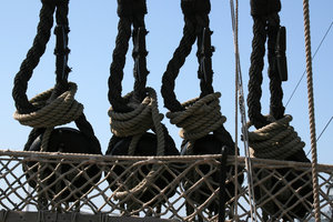 Rigging: Rigging on an old sailing ship in Portsmouth, England.