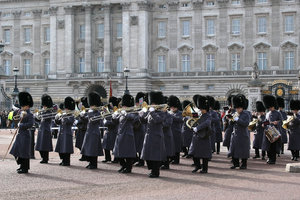 Military band: A military band outside Buckingham Palace, London, England.