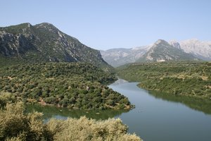 Mountain lake: A lake amid the mountains of Sardinia.