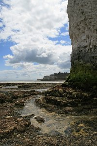 Chalk cliff base: Base of a chalk cliff at low tide in Kent, England.