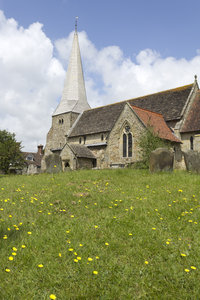 Church on a mound: A church on a mound in East Sussex, England.