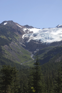Glacier and meltwater: Glacier and meltwater on Mount Baker, USA.