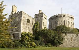 Windsor castle and garden: Towers and garden within the Queen's royal residence of Windsor Castle, England. Photography in the public-accessible areas of this castle is freely permitted.