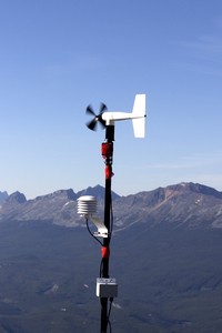 Weather monitoring station: A weather monitoring station in the Rocky Mountains, Canada.