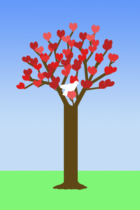 Valentine tree graphic: Naive art Valentine tree.