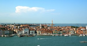 Venice panorama: Panoramic view of Venice from the top of a tower.