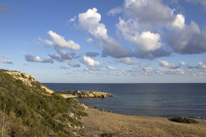 Cyprus coastline: Coastline of northern Cyprus in early morning light.