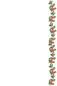 Holly border: A decorative repeating border of holly leaves and berries.