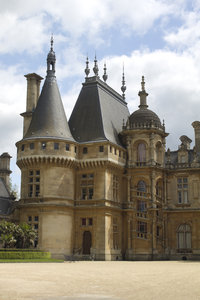 English manor house: Waddesdon Manor, a Renaissance-style château in Buckinghamshire, England. Photography of the exterior of this National Trust property is freely permitted.
