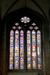 Cathedral window: A stained glass window in Hereford cathedral, England. Photography in the publicly accessible parts of this building was freely permitted.