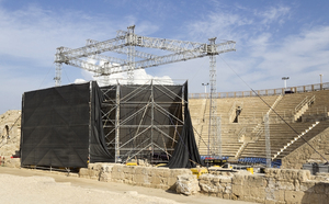 Ancient amphitheatre renovated: An ancient amphitheatre, now renovated for modern performances, among the ruins of Caesarea Maritima, Israel, built by Herod the Great about 25–13 BC. Photography at this site was freely permitted.