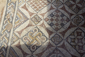 Ancient mosaic: Part of a mosaic floor in the ruins of Caesarea Maritima, Israel, built by Herod the Great about 25–13 BC. Photography at this site was freely permitted.