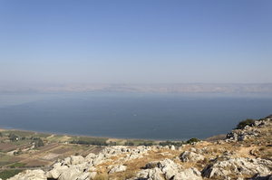 Sea of Galilee: View of the Sea of Galilee from the top of Mt Arbel national park, Galilee, Israel.