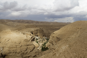 Desert monastery: Saint George's monastery in the Judean desert, Israel, with a rare rainstorm approaching.