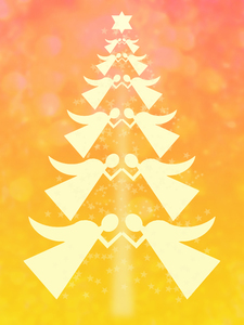 Angel Christmas tree: Graphic of a Christmas tree of angels.