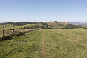 Countryside footpath: A long-distance footpath through the landscape of the South Downs National Park, Sussex, England.