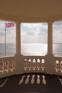 Art deco sea view: View of the sea from an art deco pavilion on the coast of East Sussex, England, in October.