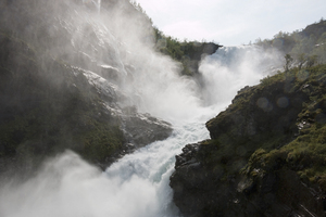 Violent waterfall: The Kjosfossen waterfall, Norway.